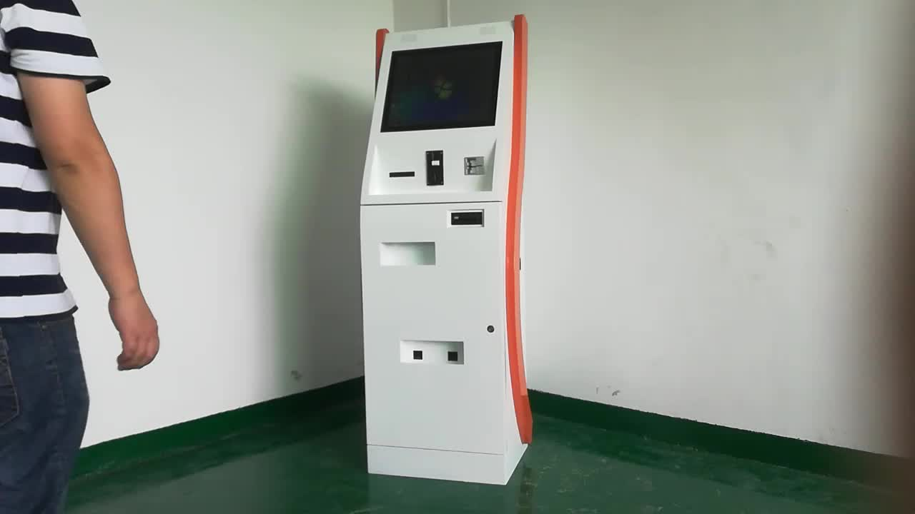 With printer bill acceptor pinpad card reader camera custom PC automatic touch screen dual monitor self-service terminal kiosk