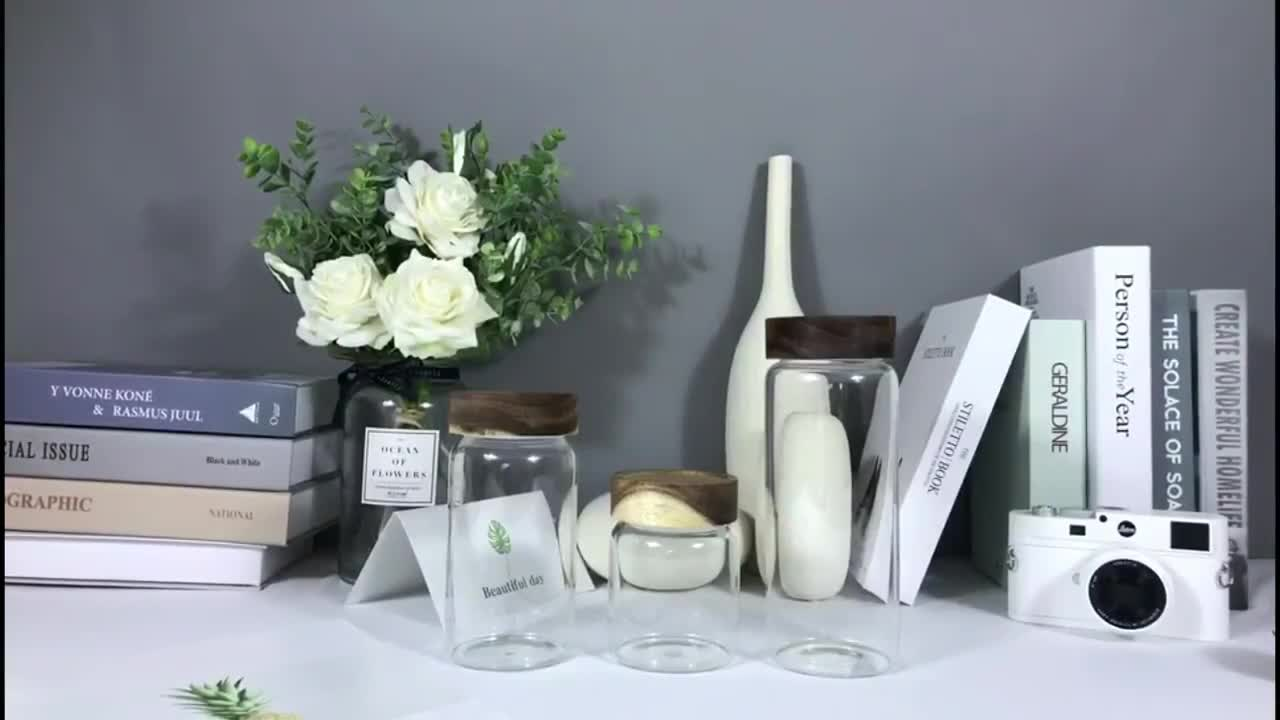 Home goods sealed air tight glass jar with wood lid
