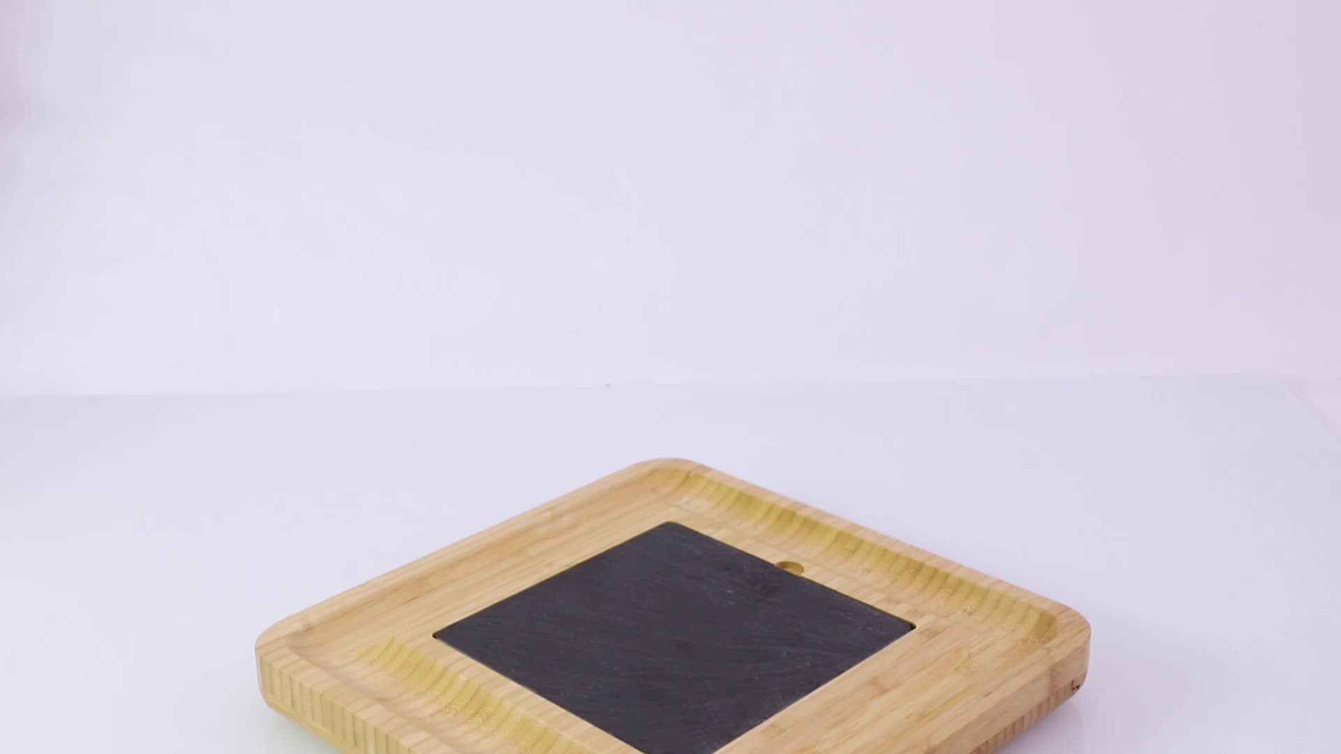 Bamboo Cheese Board With Cutlery Server Set And 2 Ceramic Bowls & 3 Slate Labels & 2 Chalk Markers