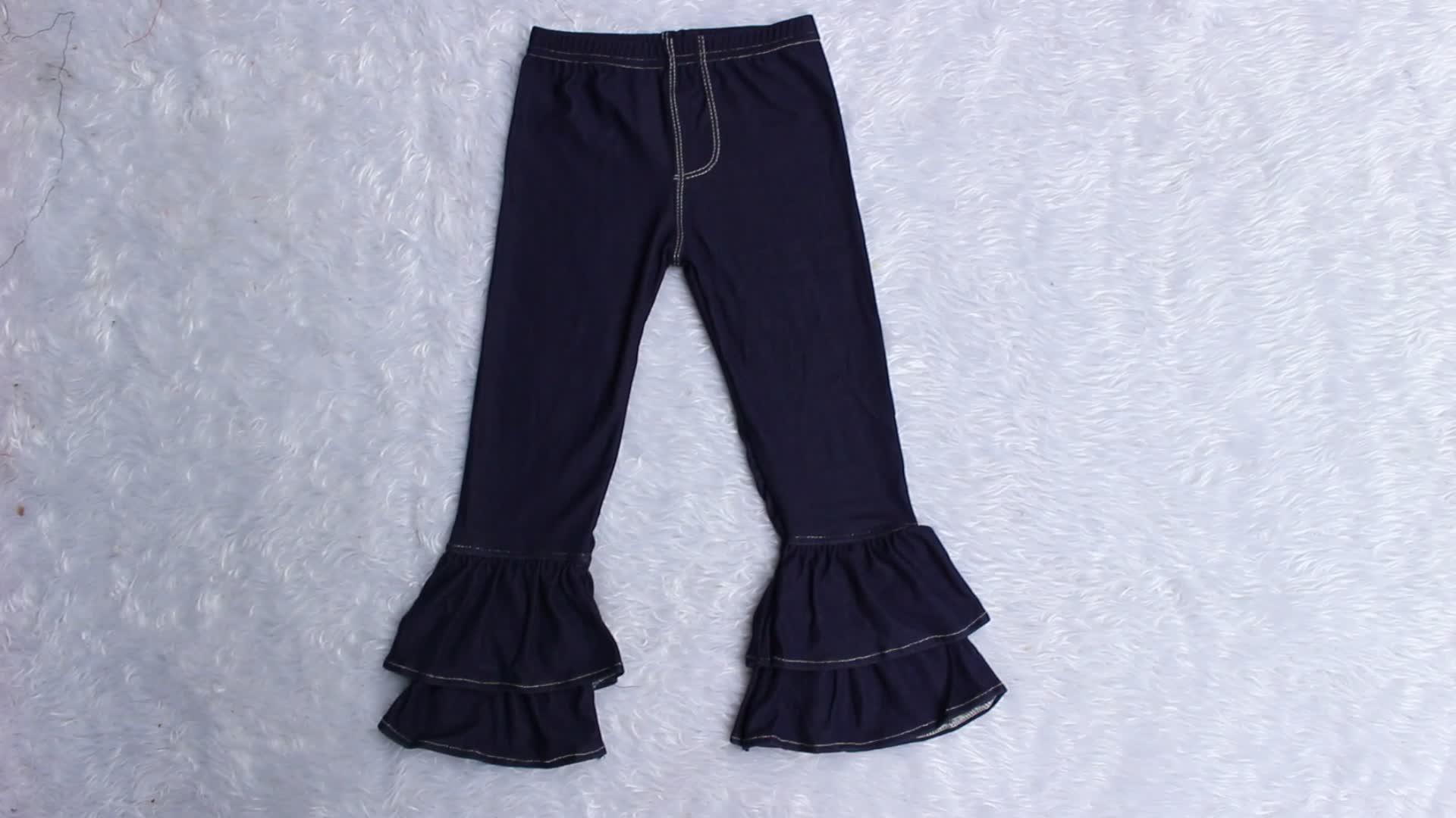 Pasen kleding voor meisje hoge kwaliteit katoen peuter kinderen ruche Capri meerdere kleuren triple ruche stijl kinderen broek