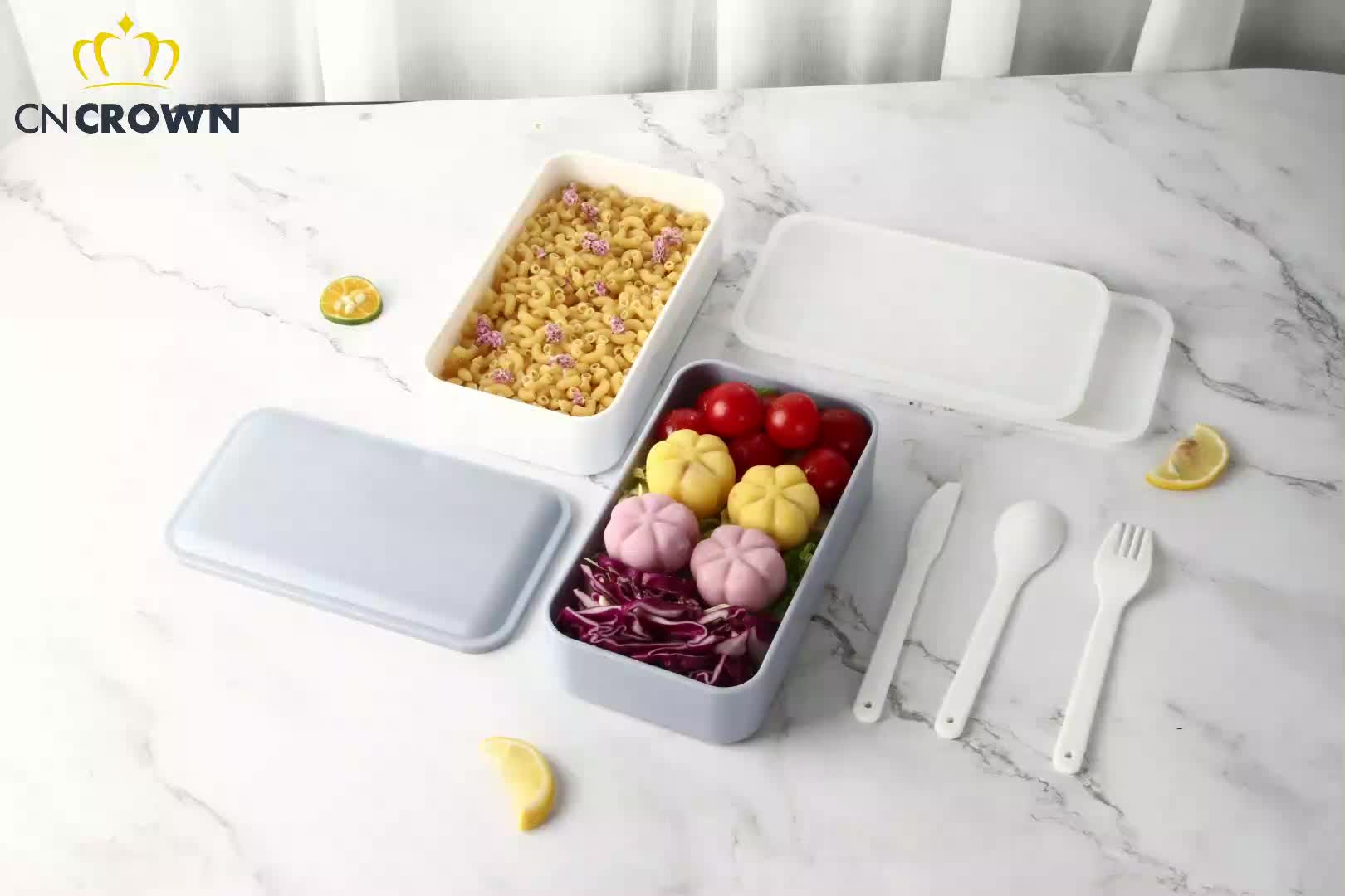 Double Layer Rectangle Cutlery Microwave Heated Safe Kids Food Grade BPA Free PP Tiffin Lunch Box,School Custom Lunch Box
