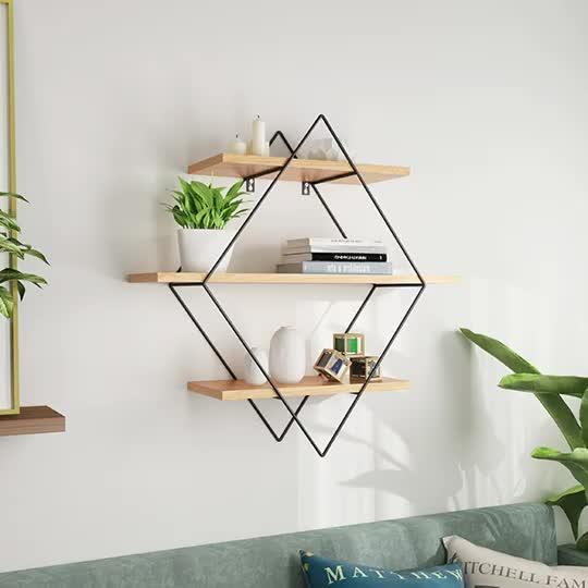 Rectangle Shaped Wooden Hanging Floating Cube Wall decor Shelf Hanging Wall Shelf