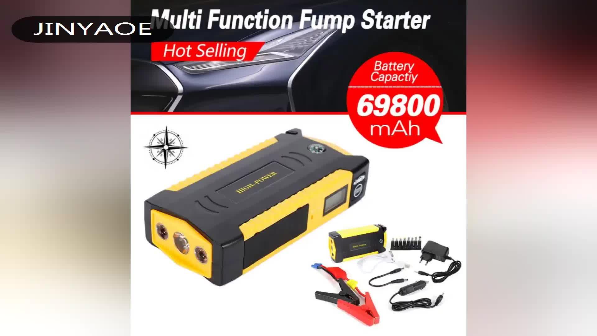69800 mah porta 4USB 18650 di salto batteria di avviamento ripetitore con DISPLAY LCD per 6.0L diesel auto jumpstarter