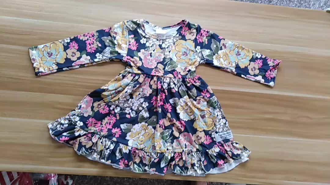Làm Cho In Ấn Riêng Của Bạn Little Girl Dresses Hoa Dài Tay Áo Boutique Bé