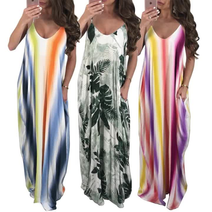 New Arrived Latest Design 2019 Girls Beach Sexy Sling Casual Long Maxi Dress Womens Clothing