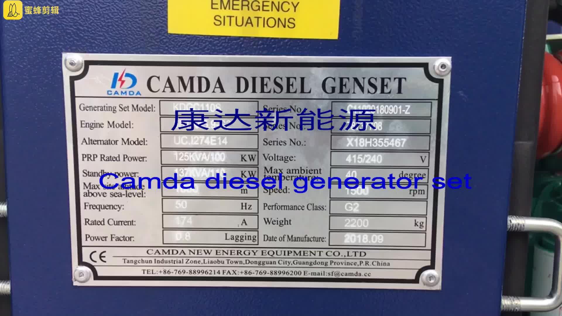 Presa di fabbrica 137.5kVA 110kw Generatore di energia in standby Diesel con ISO e CE verificato 50Hz/60Hz