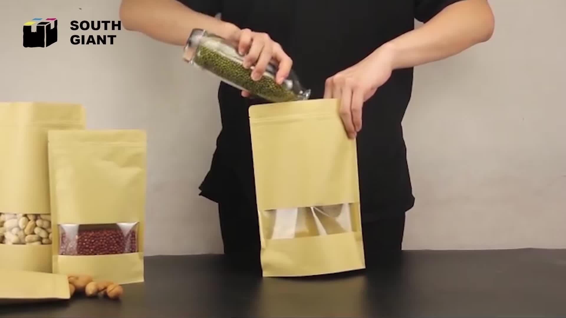 En gros Personnalisé Accepter Thermoscellage Stand Up Fermeture éclair Marron Blanc Pochette En Papier Kraft avec Fenêtre Transparente
