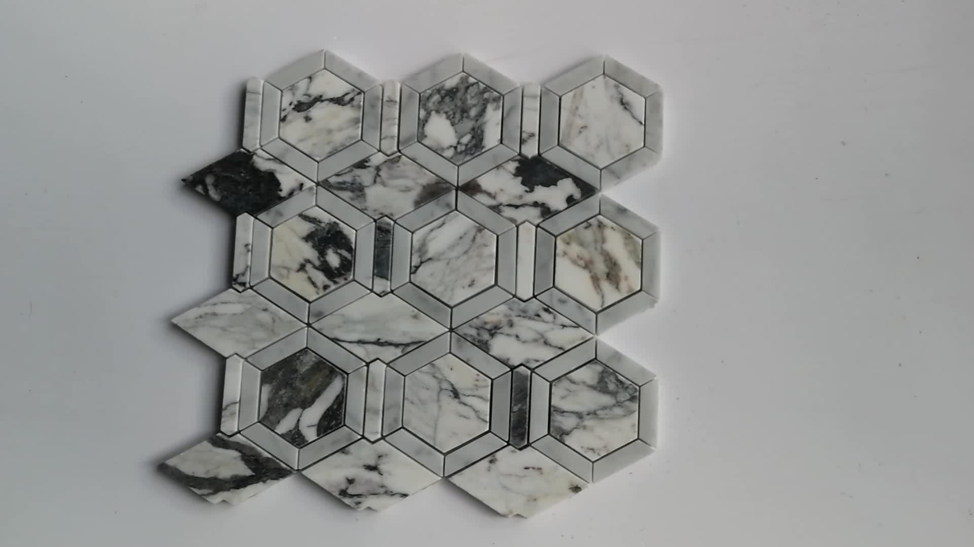 Carrara Hexagon Marble Mosaic Tile Backsplash For Sale