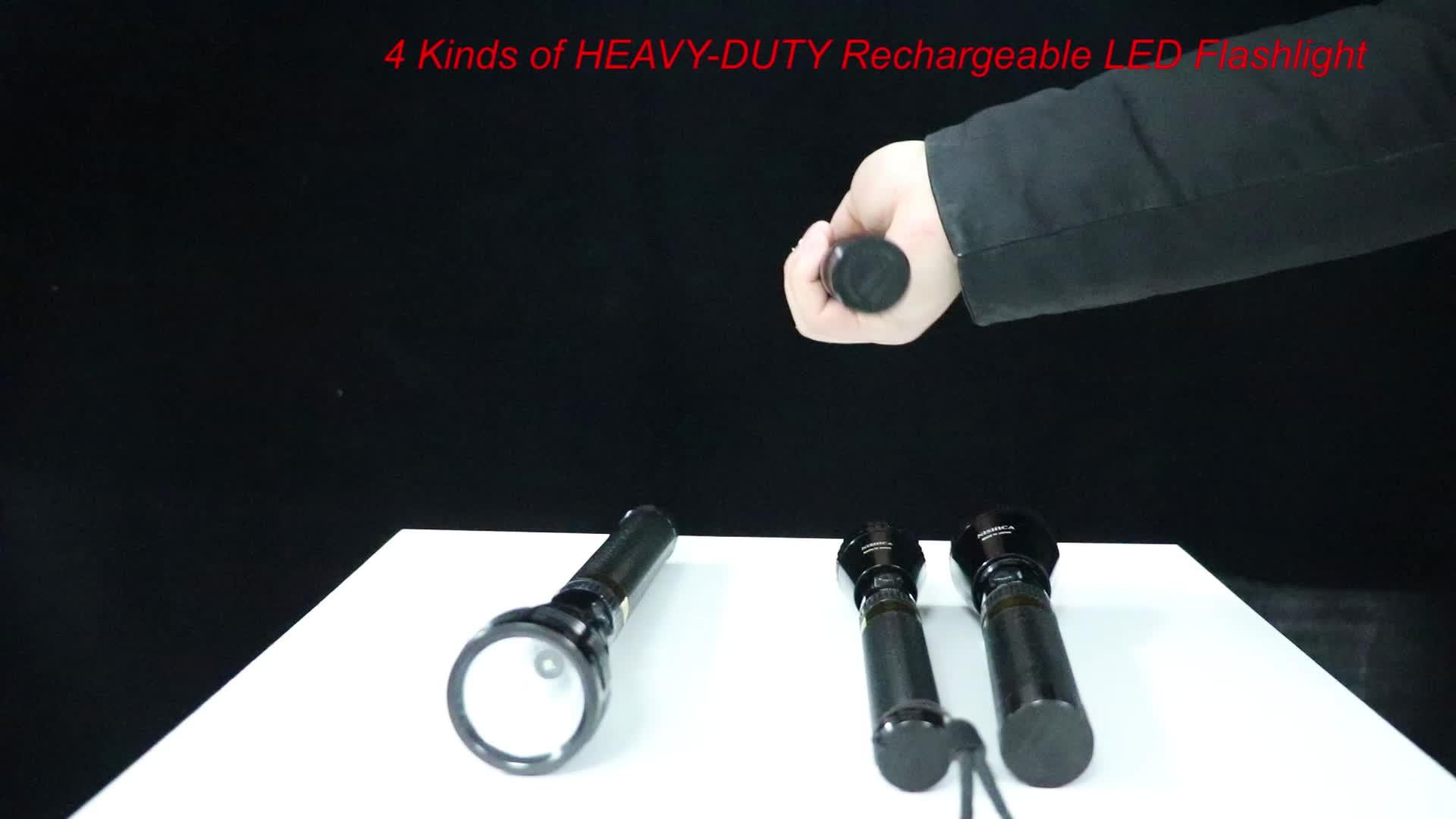 Aluminum Alloy Heavy-Duty Incandescent 2SC Battery Rechargeable Security Big 130 Lumens LED Flashlight