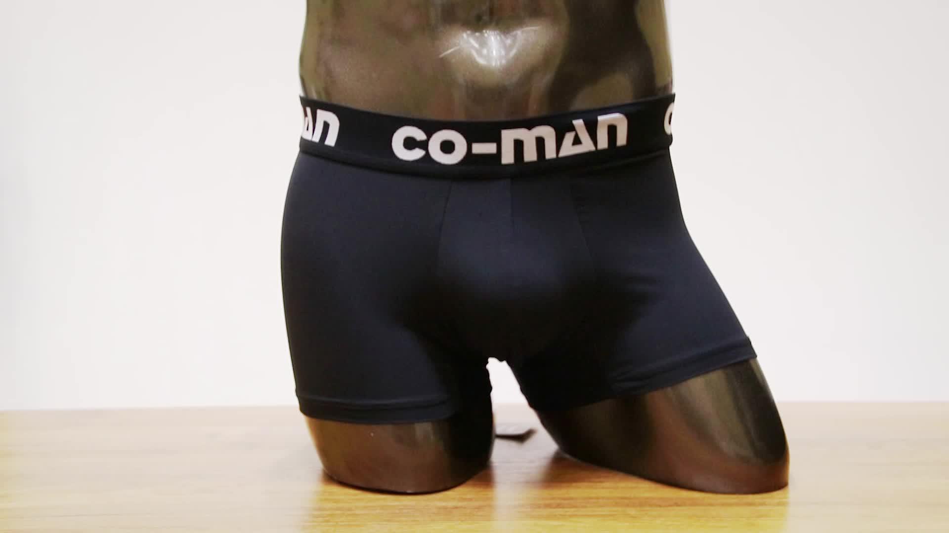 Custom พิมพ์กางเกงขาสั้นผ้าฝ้ายสีดำชุดชั้นในบุรุษนักมวย