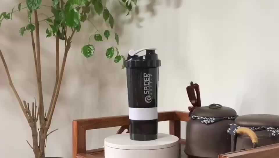 500ML 3 in 1 protein shaker with pill box, spider shaker bottle, three layers shaker bottle