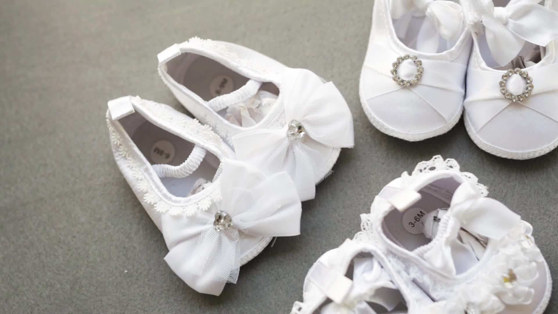 Wholesale Baby Girl Christening Shoes Baptism Flower Princess Lace White Baby Soft Shoes