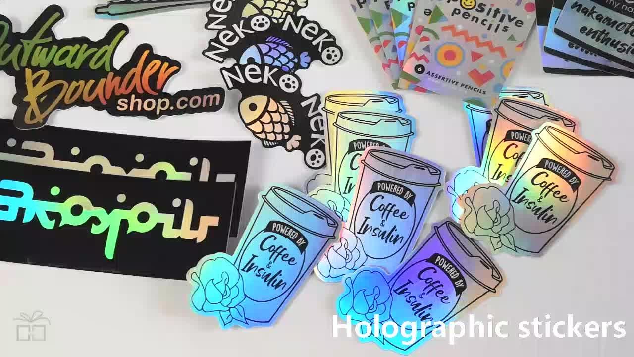 로고 반사 레인보우 메탈릭 효과 컷 방수 홀로그램 스티커