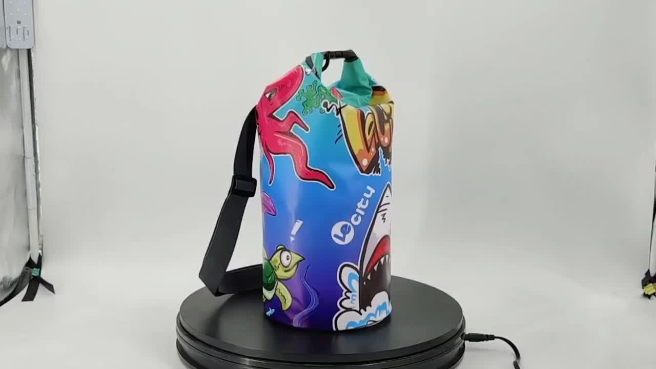 Promotion en gros motif impression colorée 5L 10L 20L 30L 500D PVC bâche océan pack sac sec imperméable flottant