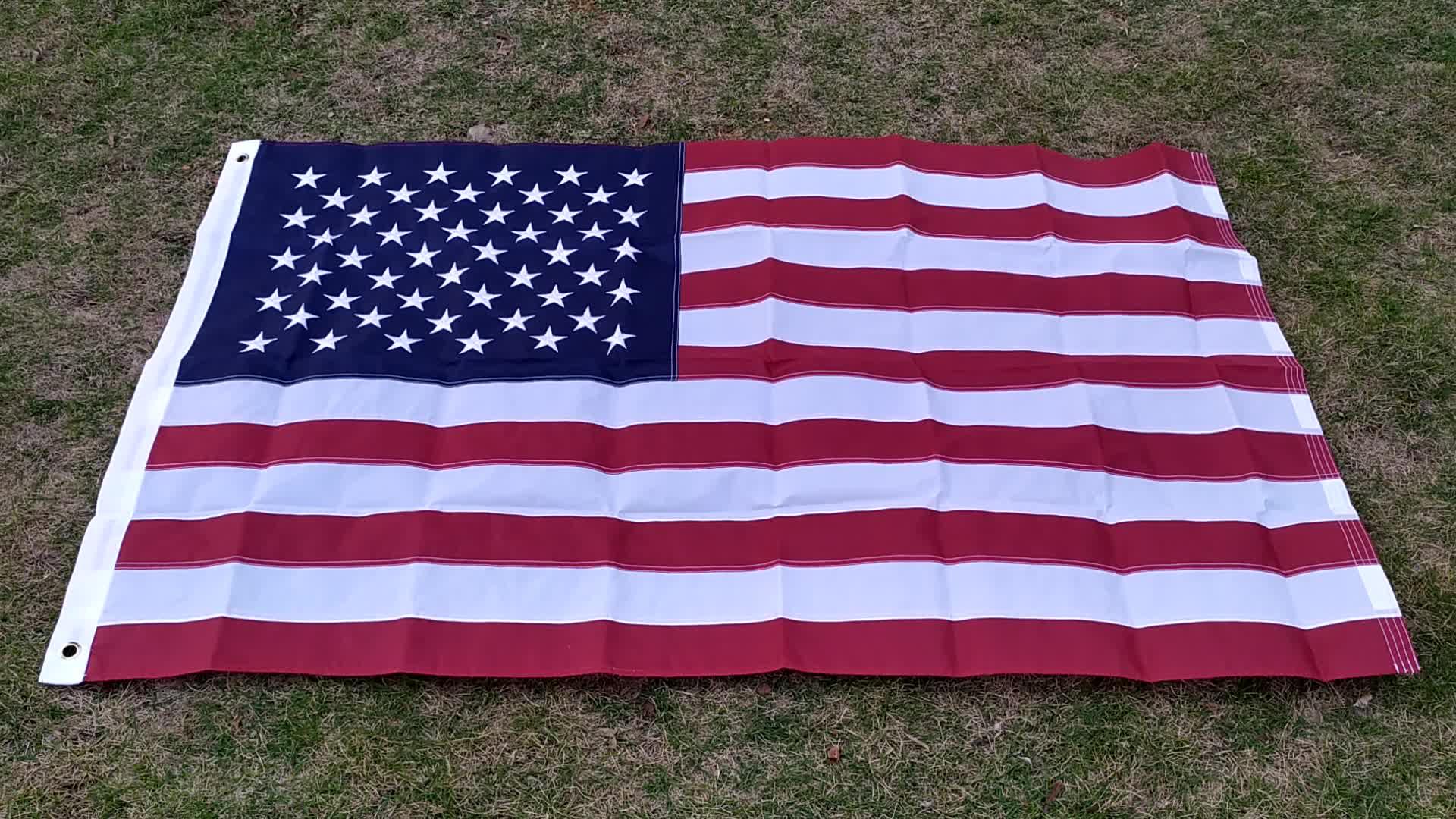 3x5ft 210D Oxford Nylon Gestickte und Genäht USA Amerikanische Flagge