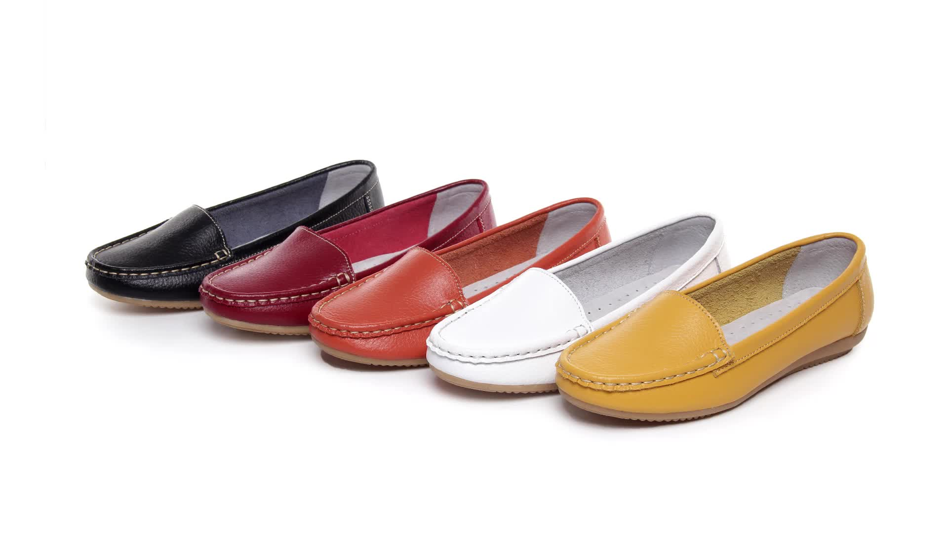 Factory Price Multicolor Fashion Women Casual Slip-on Flat Leather Shoes