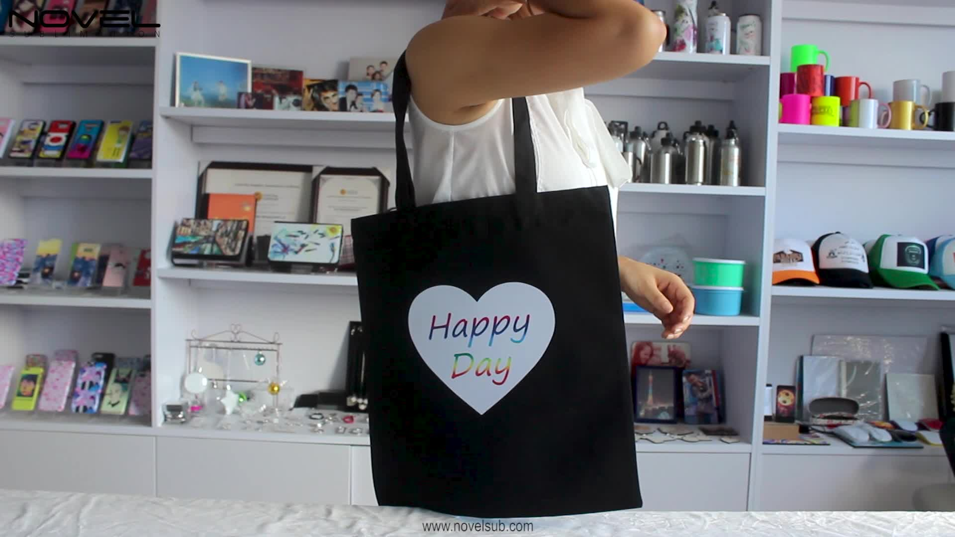 Customized Sublimation Double Side Printing Black Tote Bag