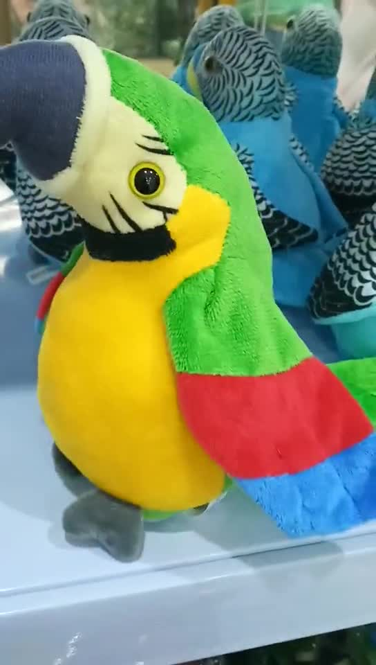 Custom Plush Soft Kids Gift Electric Green Parrot Voice Recorder Repeating Stuffed Bird Animal Talking Parrot Plush Toy