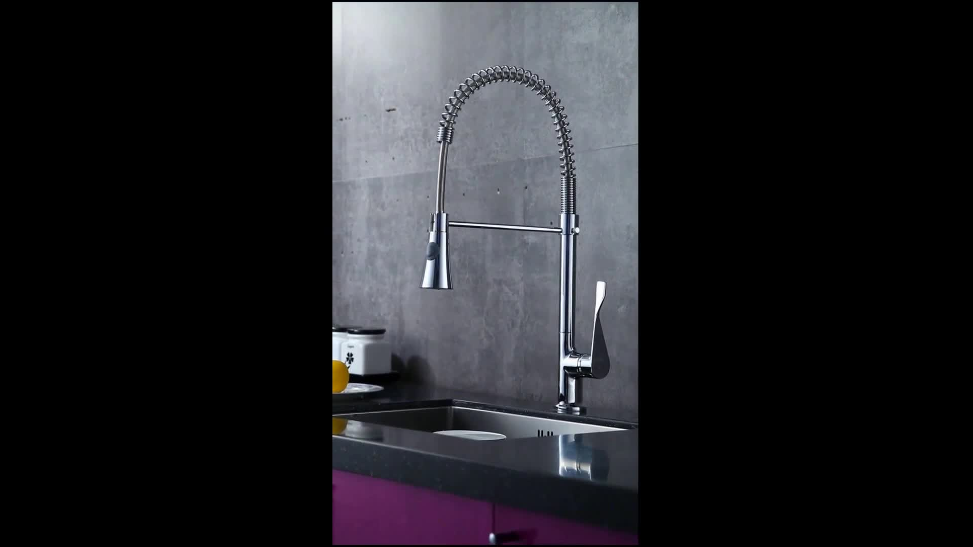 China manufacturer kitchen sink spring mixer faucet with trumpet sprinkler