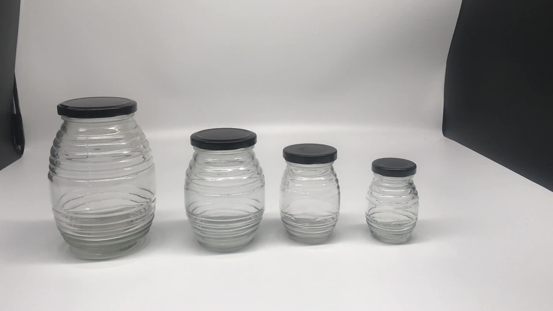 100ml 180ml 380ml 730ml gewinde bee form honig glas mit schraube deckel, phantasie runde gewinde form glas flasche jar