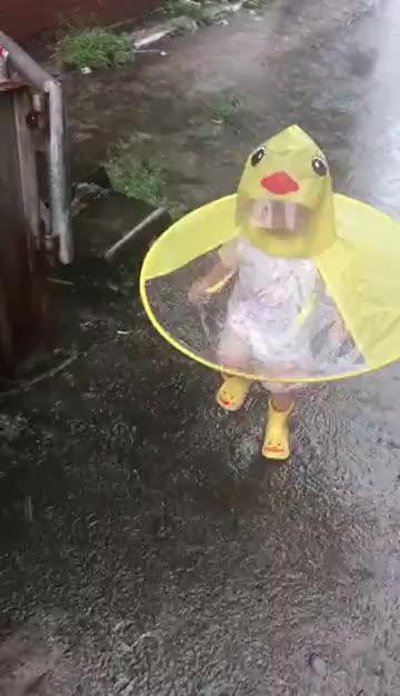 Outdoor Kid Cute Raincoat Transparent Waterproof Poncho Cheap UFO Shape Handle Free Children Umbrella