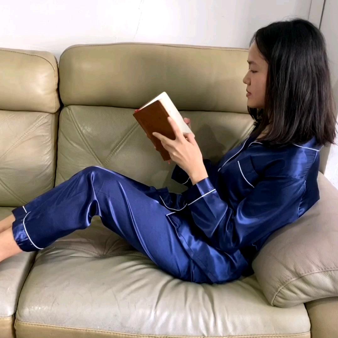 Mens và Womens Rắn Satin Dài Tay Áo Quần Dài Bộ Đồ Ngủ Phụ Nữ Đồ Ngủ Đồ Ngủ Lụa Pajama Set