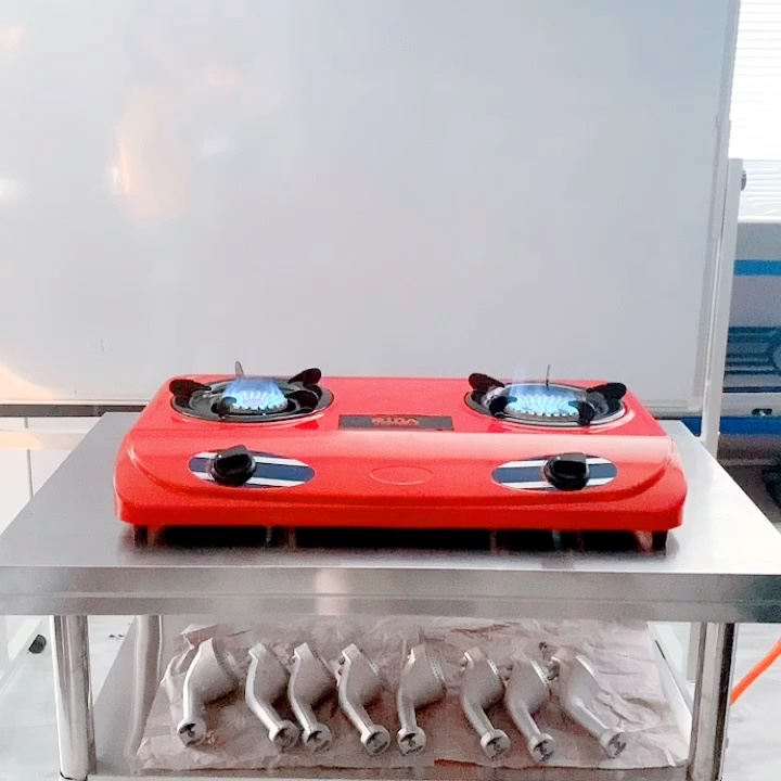 China restaurant home use cooking stainless steel top cover 2 burner gas stove
