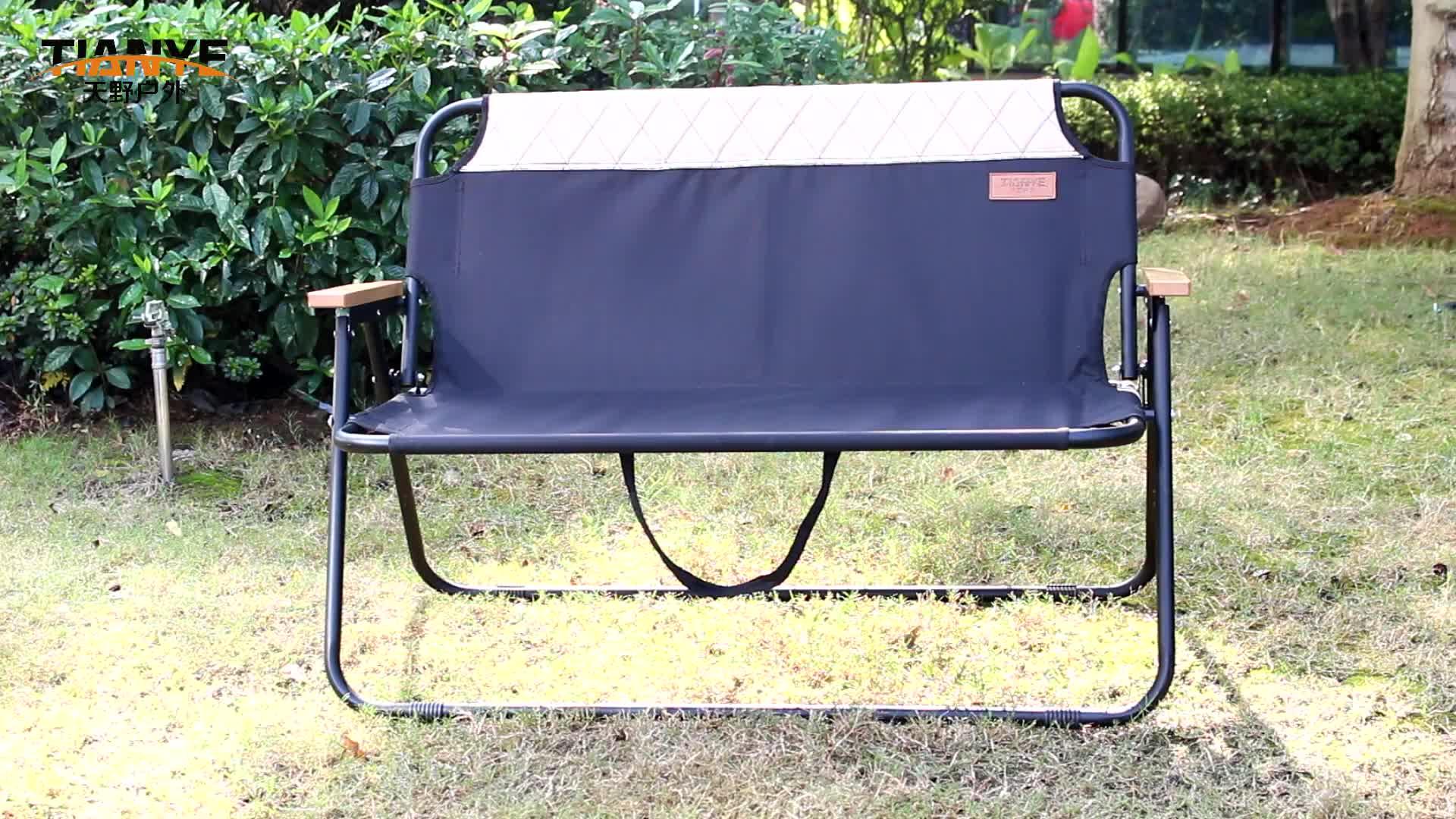 Tianye 두 사람 접는 휴대용 캠핑 벤치 소프트 더블 좌석 비치 의자