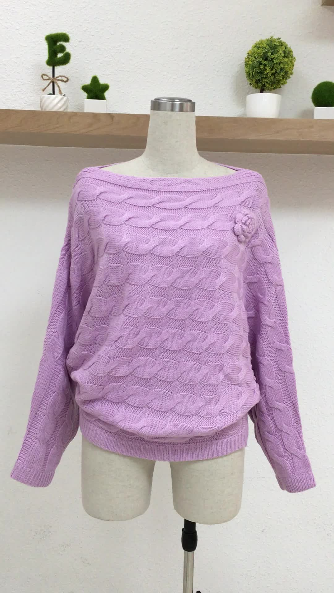 Las mujeres de Color sólido Venta caliente Mohair murciélago un suéter de cuello
