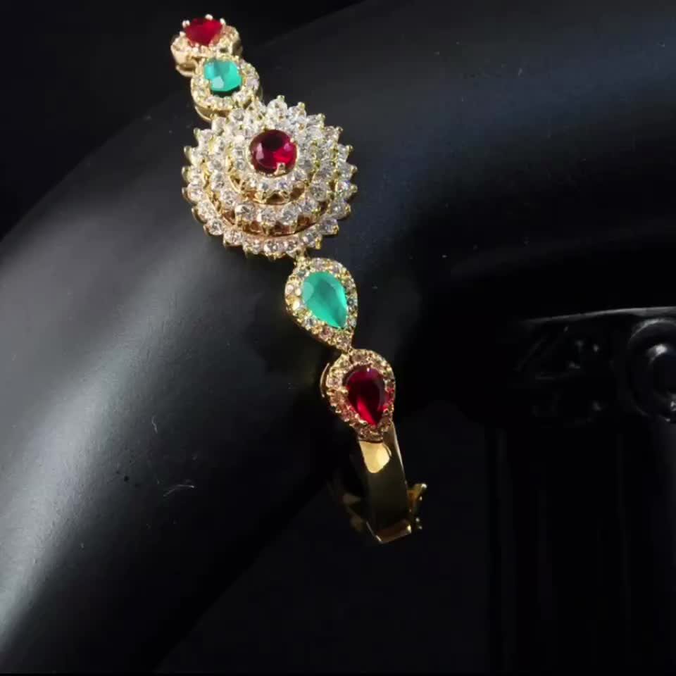 18K Real Gold Plated Designs Fashion Style Brass Material Romen Bangle