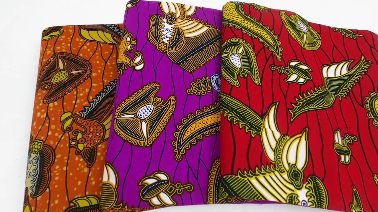 ขายส่งแอฟริกันผ้าสิ่งทอผ้าฝ้าย100% ขี้ผึ้งพิมพ์ผ้า W180611