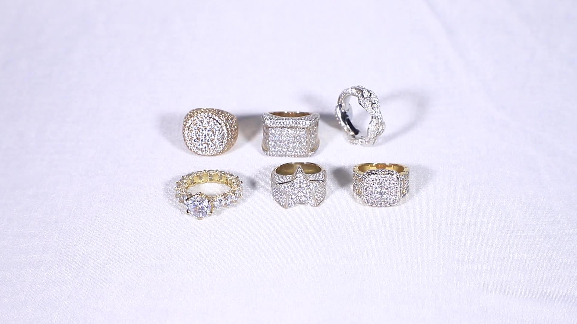 JASEN bijoux or diamant chaîne à maillons anneaux dernière bague cubaine simple