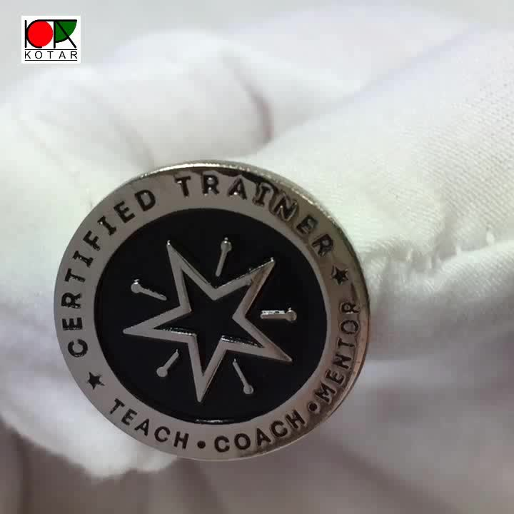 personalized shiny nickel plated badge with star logo