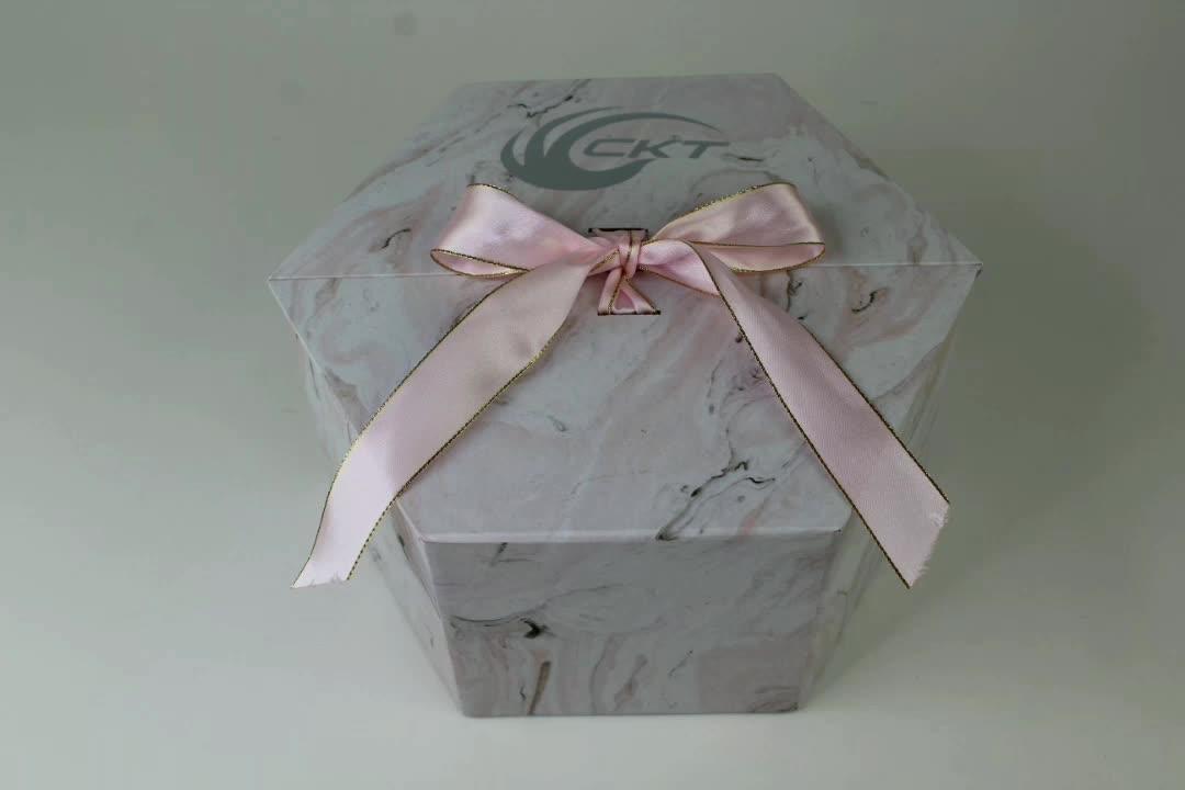 Di lusso di Cartone di Imballaggio di Carta Roses Conservati Fiore Regalo Casella di Visualizzazione Con Il Nastro