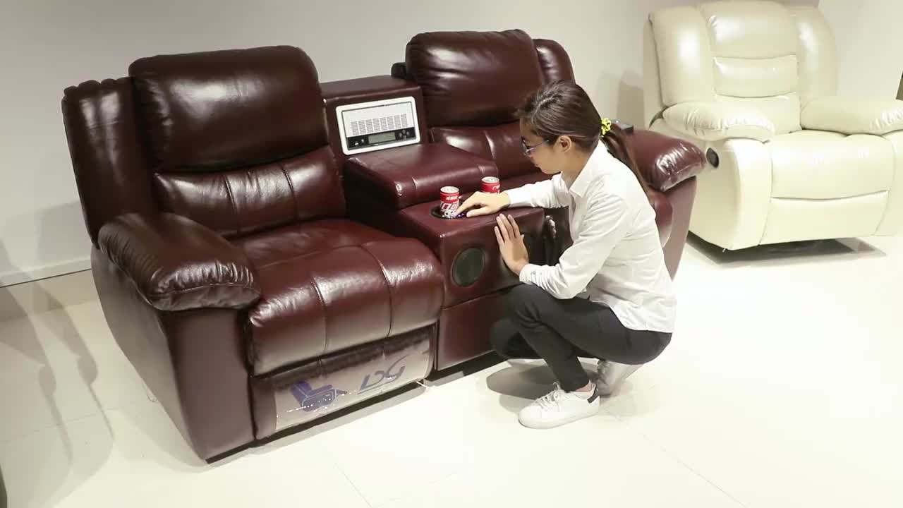 Foshan Home Theater Furniture Leather Recliner Sofa Set, Recliner Sofa Set Genuine Leather