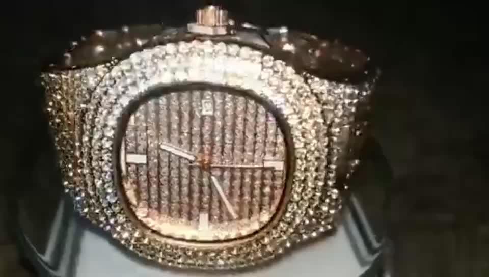 アイスアウトフルダイヤモンドメンズクロノグラフは役割ゴールド高級ダイヤモンド腕時計男性ブレスレットヒップホップアイスアウト腕時計メンズ