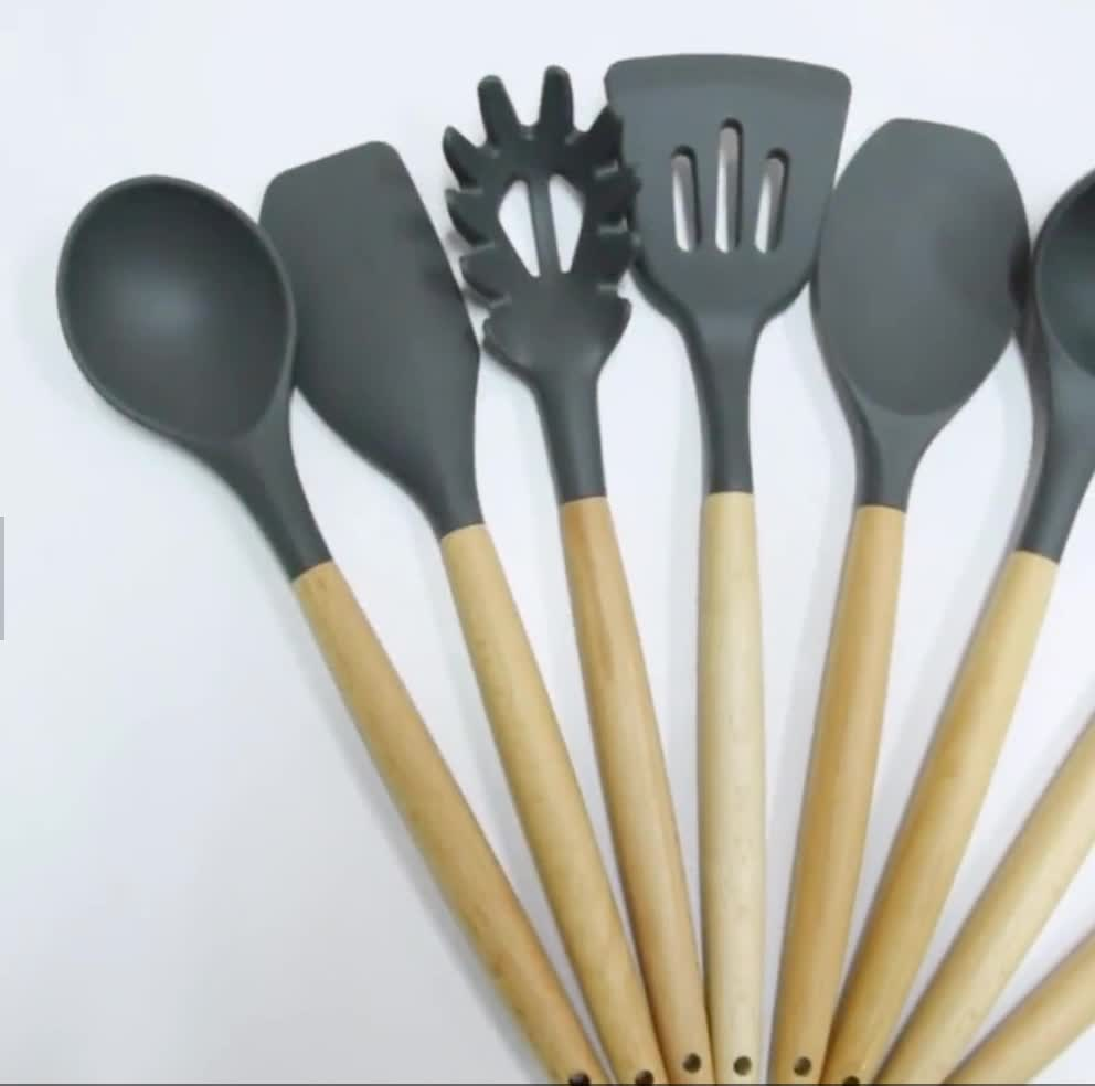 Wooden Handle Utensil Set Of 6/7/8/9/10 Piece With Wood Holder SW-CT55