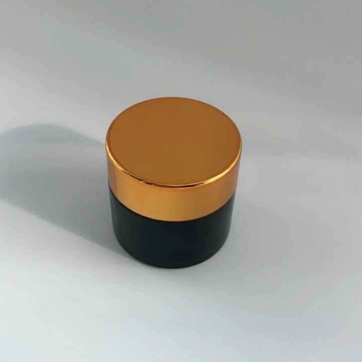 10ml Empty Round Amber Glass Cream Jar Vendor Stocks Facial Cream Glass Jar With Black Plastic Lid