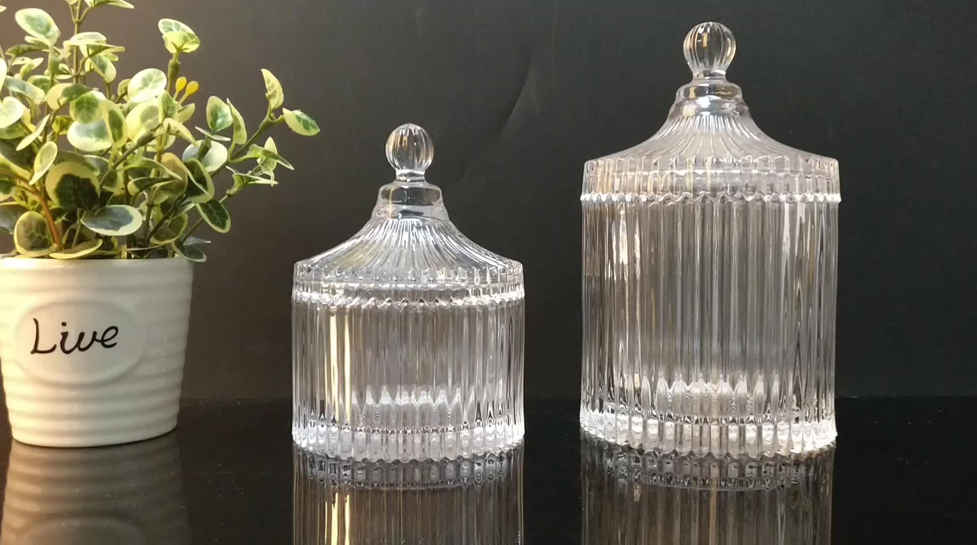 Premium Machine Geo Cut Glass Candle Jar