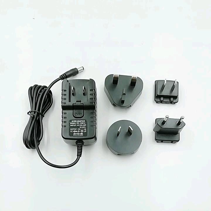 AU EU US UK plug 5V 1A interchangeable plug phone power adapter with ETL CE FCC RoHS SAA C-tick