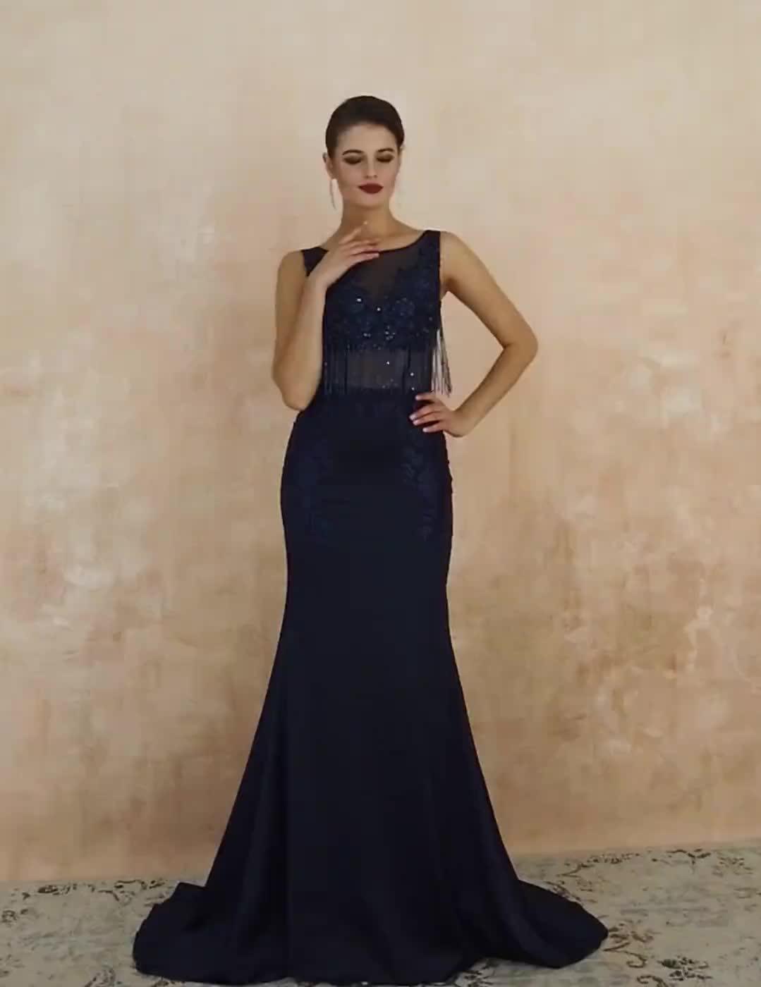 2019 Designer lange mermaid luxe crystal kralen sexy illusion navy vrouwen avondjurk