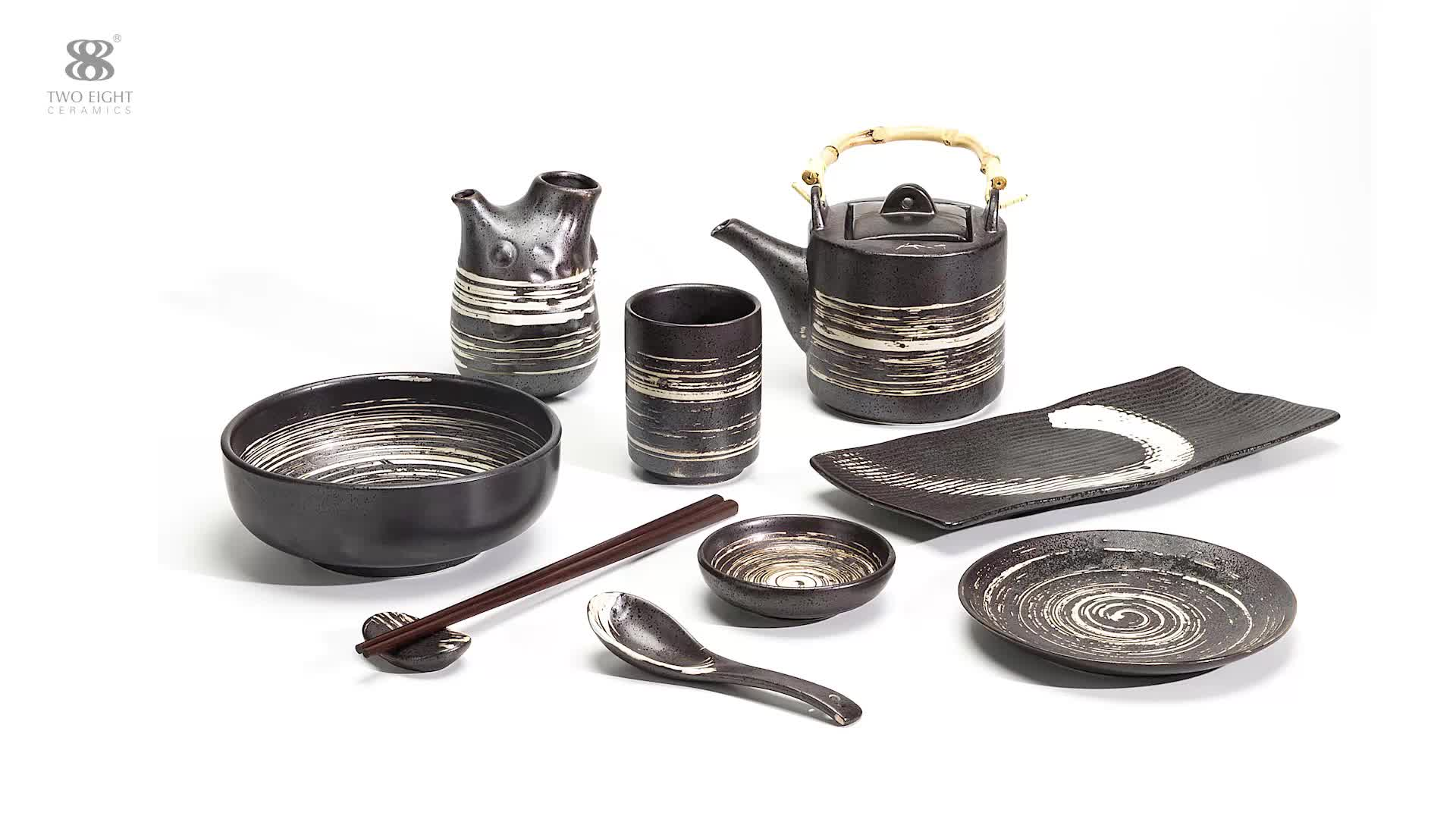 Direct Sale Party Microwave Safe White Ceramic Dinner Set, Dinnerware Black~