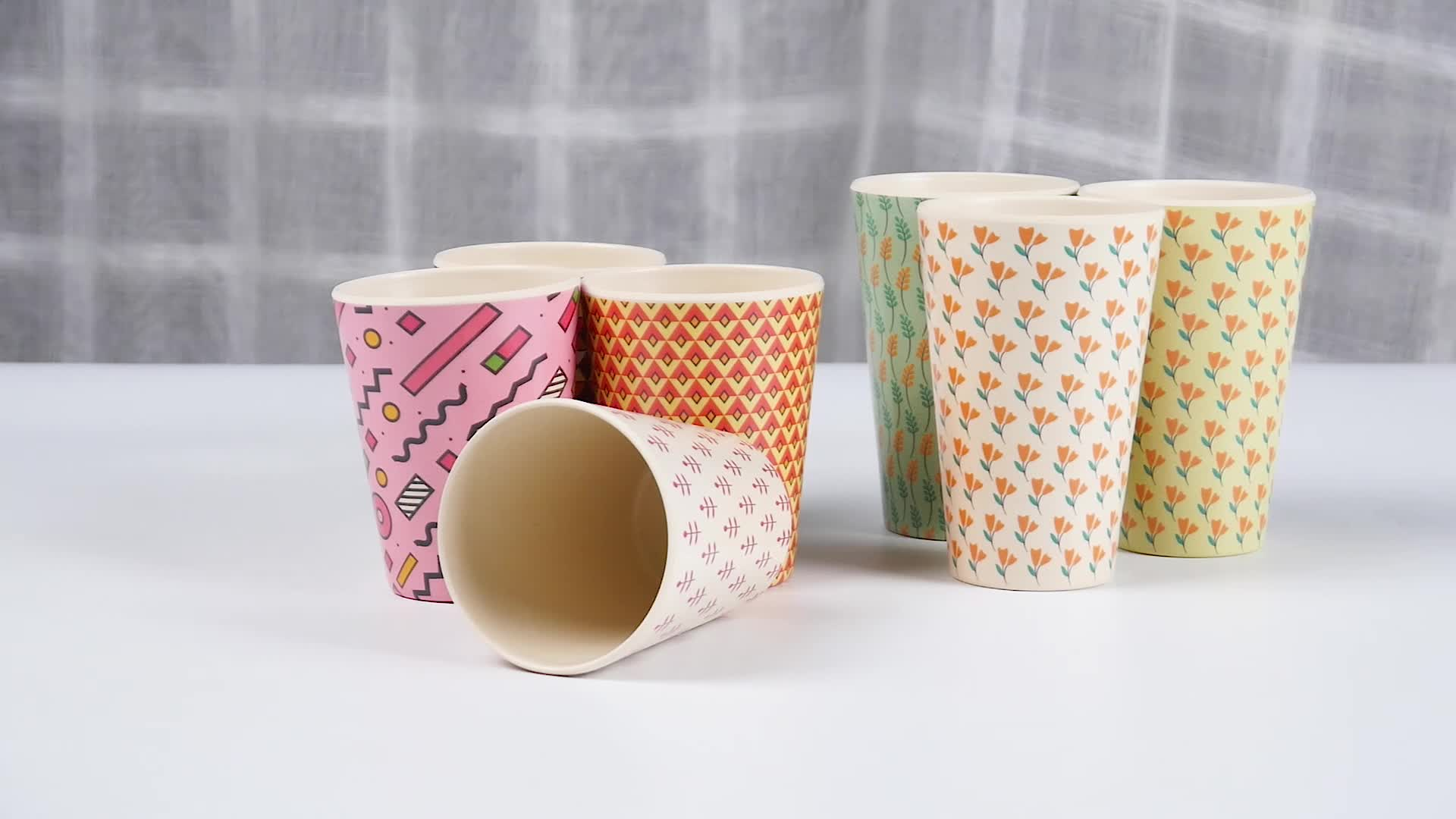 New Item Printed Design Ecoffee Bamboo Drinking Cup Bamboo Cup