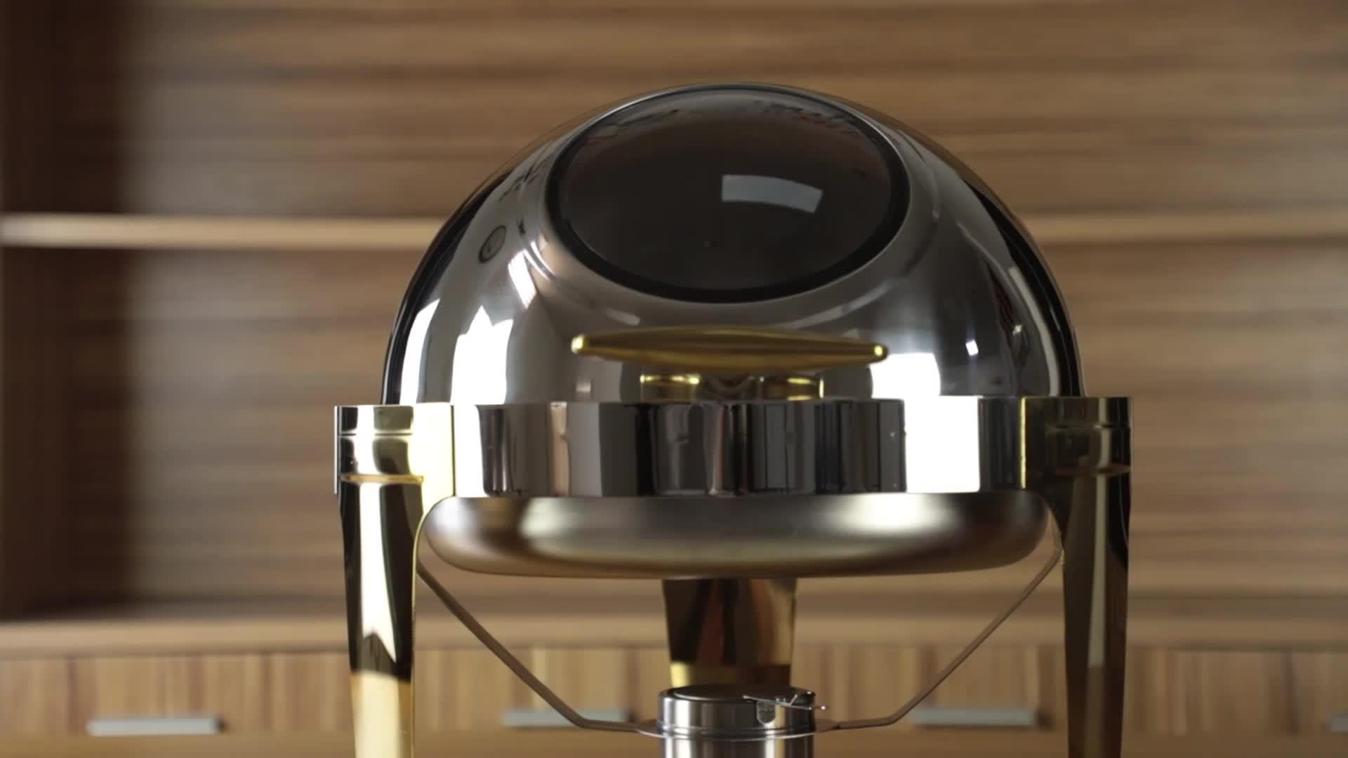스테인리스 뷔페 음식 온열 장치 취사를 위한 둥근 눈에 보이는 창 덮개 전시 장비 죽네 요리