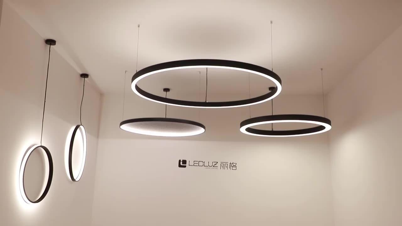 600mm 900mm 1200mm Black White Pendant Aluminium LED Profile For LED Ring Light