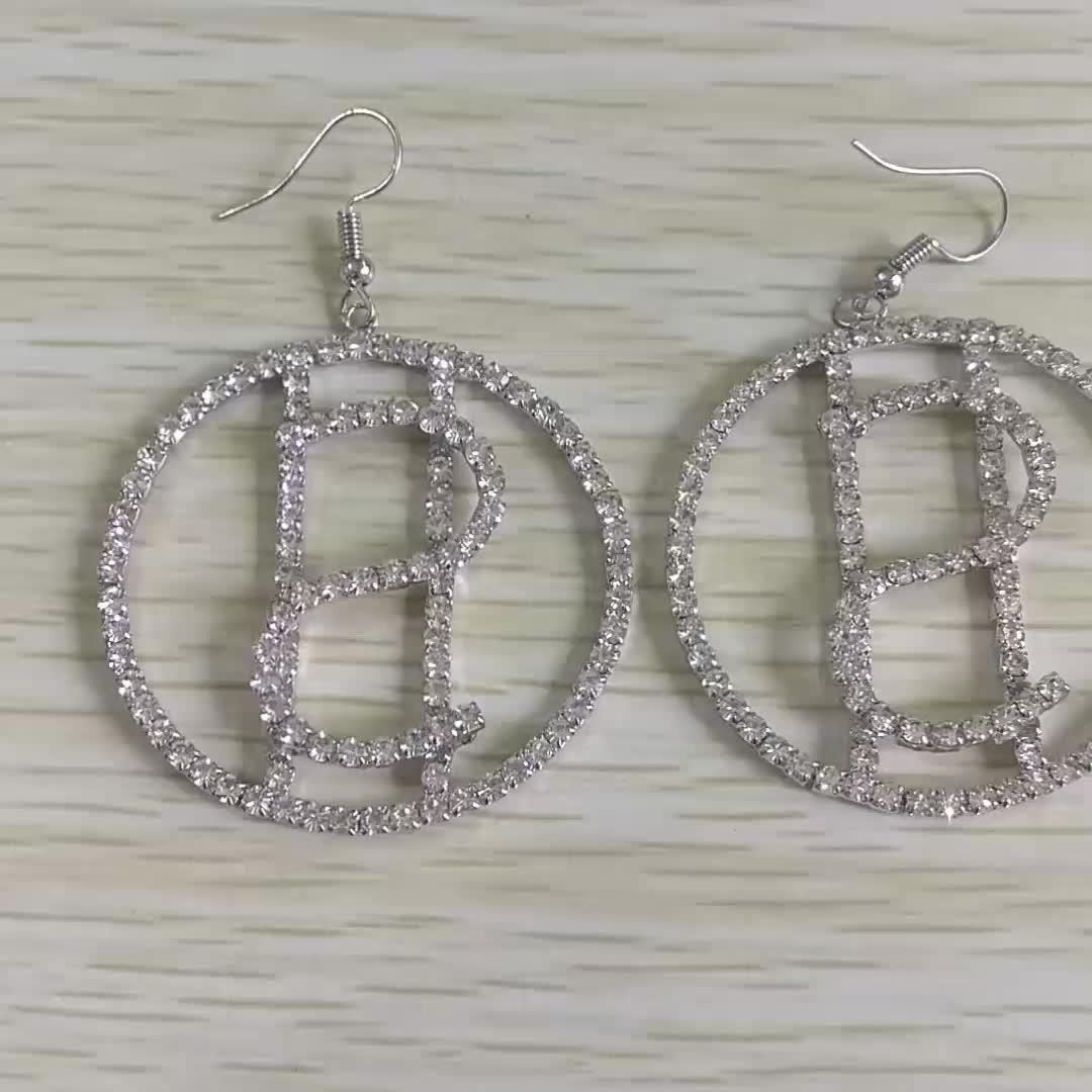 2019 New Arrival Women Full Diamond Jewelry Earrings Hollow Love Heart Round $ Dangle Dollar Sign Hook Earrings