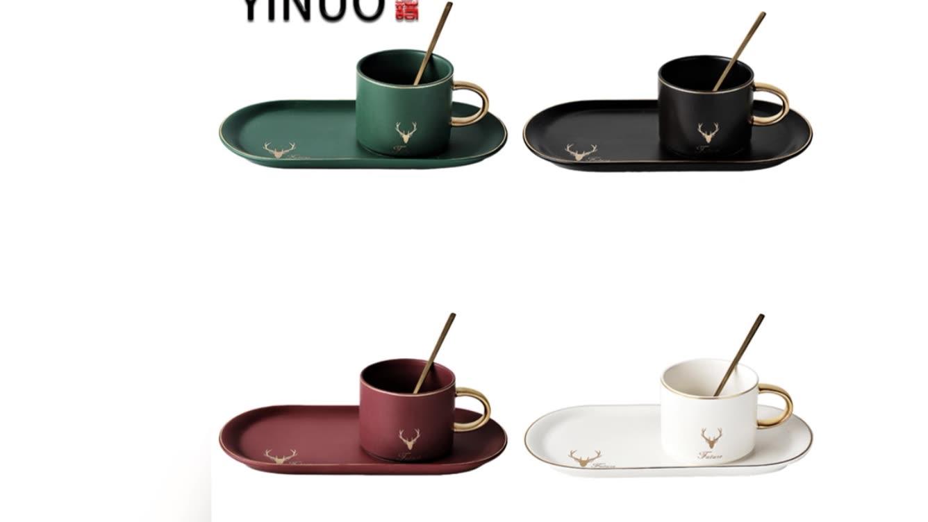 Promosi 230 Ml Putih Keramik Espresso Kopi Cangkir Mug Gelas dan Piring Emas