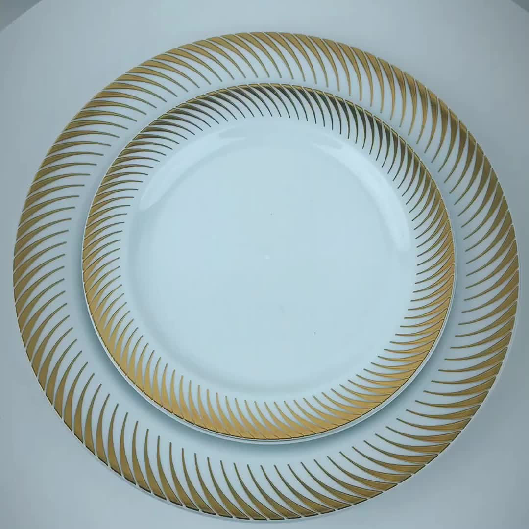Hot Selling Products Round Gold Dinner Wedding Plastic Disposable Plate