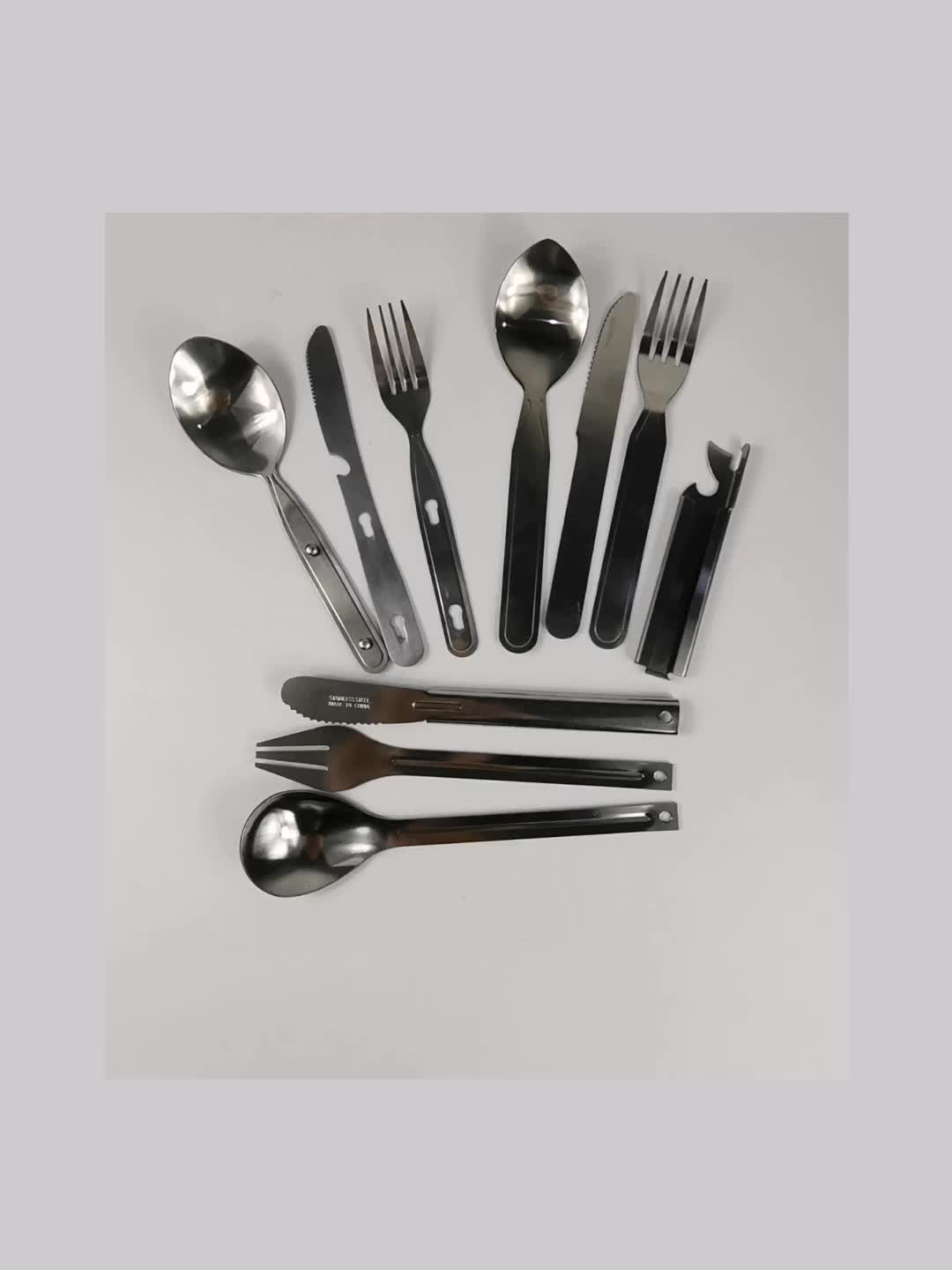 Portable Stainless Steel Flatware Set Military Army Knife Spoon And Fork