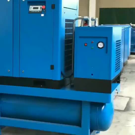 low rpm generator 7.5kw 10hp screw compressor and dryer  mounted tank  200 liter with dryer and tank